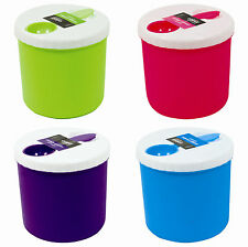 PLASTIC SNACK FOOD CONTAINER WITH SPOON - LUNCH BOX NOODLE POT STORAGE CANISTER