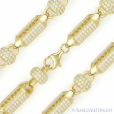 8mm Disco Ball Bar Bead Link Chain Bracelet 925 Sterling Silver 14k Yellow Gold