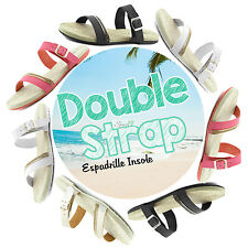 Women's Metal Stud Chain Double Strap Espadrille Insole Flat Casual Sandal Shoes