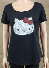 Vans Girls Hello Kitty Graphic Crew Tee Womens Black T-Shirt Cut Out Back NWT