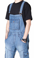 Denim Bib Overalls with Turn Up for Men Women Light Blue Unisex Casual Jeans