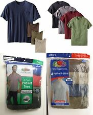 Fruit of the Loom Men's 4 or 8-pack Pocket T-shirts Assorted. Sizes- M-3X NEW