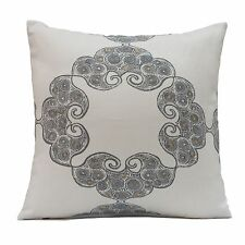 Off White Linen decorative throw Pillow Cover with pattern,Toss Pillow,Accent.