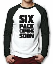 Six Pack Coming Soon Baseball Top - Funny Fitness Workout Tee Mens Shirt