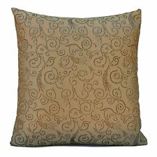 Gold Silk Blend Decorative Throw Pillow Cover with Floral Pattern, ,Accent Pillo