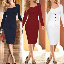 Women Long Sleeve Slim Plaid Bodycon Cocktail Party Evening Pencil Office Dress