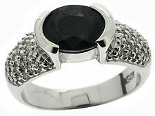 925 Sterling Silver 2.40 Ct Natural Sapphire & White CZ Ring