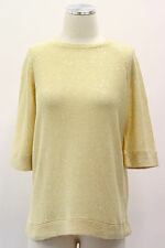 NWT $1185 Brunello Cucinelli Yellow Sequined Knit Top Blouse Silk Blend