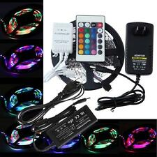 5M 3528 5050 SMD 300 SMD Flexible LED Strip Light +24key IR Remote+Power Supply
