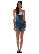 Womens Relaxed Fit Denim Bib Overall Shorts Beach Bum Style Blue Shortall (SH14)