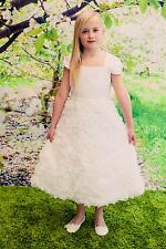 First Communion Holy Flower Girl Dress Wedding Cap Sleeve Formal Holiday Organza
