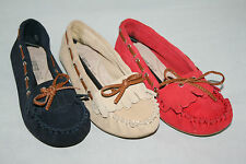 Ladies Wide Fit Shoes Suede Leather Moccasins NEW UK Sizes 3-9 Ex Store Womens