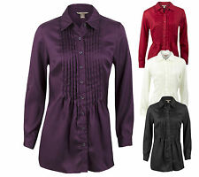 Lovely Ladies Formal Satin Blouse Long Sleeve Shirt Top UK 4 - 20 S M L XL XXL