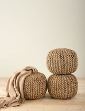 Chic Knitted Jute Pouf Footstool Ottoman, Natural, One Piece