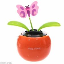 SOLAR POWERED SWAYING BUTTERFLY FLOWER IN POT VARIOUS COLOURS DASHBOARD TOY
