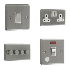 Satin/Brushed Chrome Sockets & Switches - White Trim
