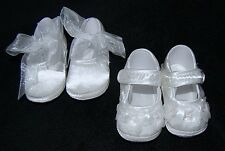 Baby Girls White Satin Christening Shoes 1-3 3-6 6-12 Month *One Supplied*
