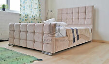 Upholstered Caramel Chenille Bed Frame All Colours And Sizes Diamante Made In UK