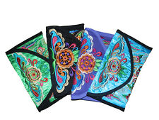 WOMENS EMBROIDERED CLUTH BAG COIN PURSE PHONE VANITY WALLET  FLORAL CANVAS LARGE