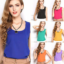Womens Summer Loose Top Casual Chiffon Sleeveless Shirt Vest Tank Tops Blouse