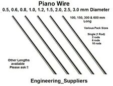 Piano Wire 0.5, 0.8, 1, 1.2, 1.5, 2, 2.5, 3 mm Dia 100 - 600mm Long Various Qty