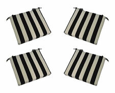 Set of 4 In / Outdoor Foam Chair Seat Cushions Black White Stripe - Choose Size