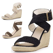 Womens Platform Espadrilles Strap Wedge Sandals Size 3034#