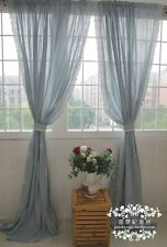 French Country Provincial Embroidery Blue Cotton Linen Window Curtain Panel 026