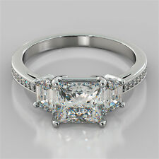 2.18Ct Princess Cut Engagement Ring in 14K White Gold - Matching Band Available