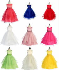 Flower Girl Satin/Organza Ball Gown Birthday Party Prom Pageant Dress In Stock