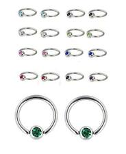 Pair of 14g Gem CZ Captive Bead Nipple Ring Tragus Septum Ear Cartilage Belly