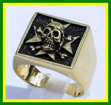 Skull and Cross Biker Ring Bronze Mens Ring