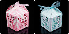 12x Baby Shower Party Pram Pattern Gift Candy Bomboniere paper Boxes