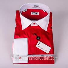 Men's Steven Land  Red/White Spread Collar and French Cuffs Dress Shirt DS516F
