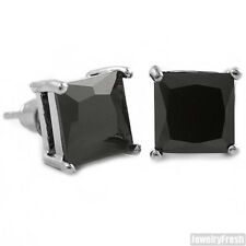 Black Cubic Zirconia Silver Square Stud Earrings