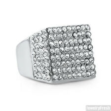 Large Ice Block Czech Crystal Stainless Steel Silver Mens Ring