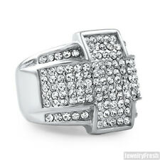 Stainless Steel Silver No Tarnish Cross Iced Out Mens Large Ring