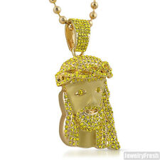 Exclusive Canary Yellow Crystal 3D Jesus Piece Pendant Chain