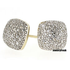 Gold Finish Iced Out Rounded Cube CZ Mens Earrings