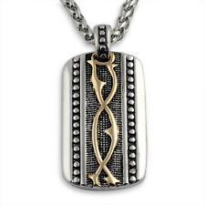 Intricate Two Tone Silver Gold Dogtag Oxidized Pendant Necklace Set