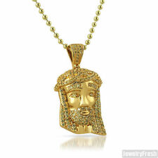 Canary Yellow Iced Out Gold Mini Jesus Head Pendant Chain