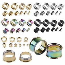 1 Pair Stainless Steel Screw Ear Gauges Flesh Tunnels Plugs Stretchers Expander