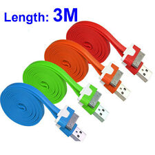 3M Flat Noodle USB Data Sync Charger Cable Charging Cord For iPhone 4 4S ipad3