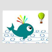 Wall Art. Happy Little Blue Whale watching balloon. Colorful  A4 print unframed