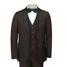 Mens Shawl Lapel 3 Piece Brown Formal Suit Slim Fit Tuxedo Dinner Wedding Prom