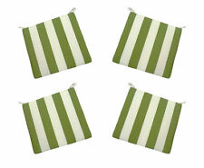 Set of 4 In / Outdoor Foam Seat Cushions Green and Ivory Stripe - Choose Size