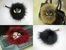 Red Black Brown Fox fur Leather Monster Pom Doll Ball keychain Bag car Charm 898