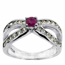.925 Silver 0.10 Ct Natural Ruby & CZ Ring