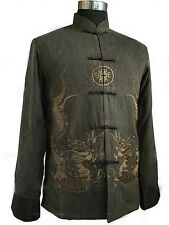 Chinese Men Dragon Embroider Kung Fu Shirt Jacket Vest