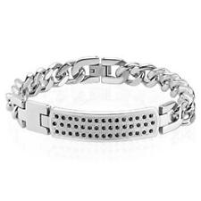 AF bracelet silver stainless steel Paved ID plate Zirconia Length mm: 200 o 210